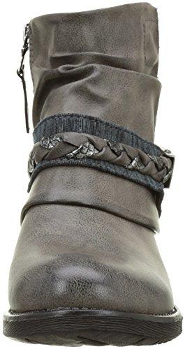 Angkorly - Chaussure Mode Bottine motard cavalier bi-matière femme boucle lanière lignes Talon bloc 3 CM - Intérieur Fourrée - Gris