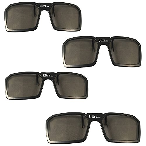 UltraByEasyPeasyStore 4 Pairs of Passive Universal 3D Standard Clip on Glasses for Prescription Eyewear for use W/ all Passive 3d Tvs Cinema & Projectors (4 x Black Clip On)