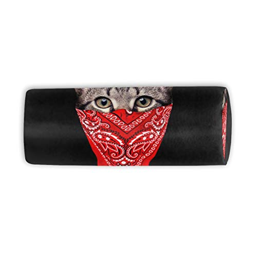 Makeup Brush Cylinder Cosmetic Case Gangster Cat Travel Organizer Pencil Case]()