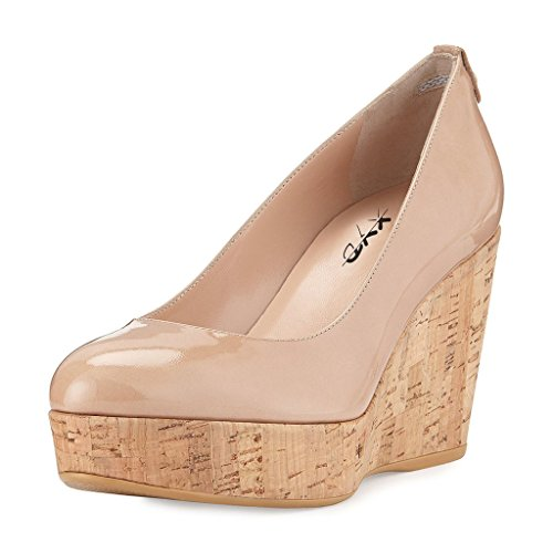 XYD Women Comfort Round Toe Platform Pumps Slip On Patent Wedge Cork High Heel Shoes Size 8 ()