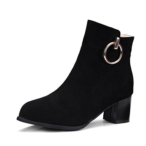 Water SXC02483 Glitter Boots Black Not Womens Heels Resistant Square AdeeSu Suede Ax1Uq1