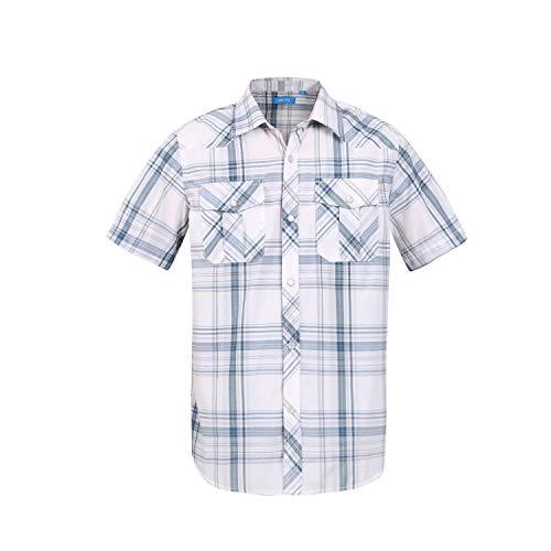 (Boy's Casual Short Sleeve Snap Plaid Button Down Shirt (#28 White Plaid, 16))