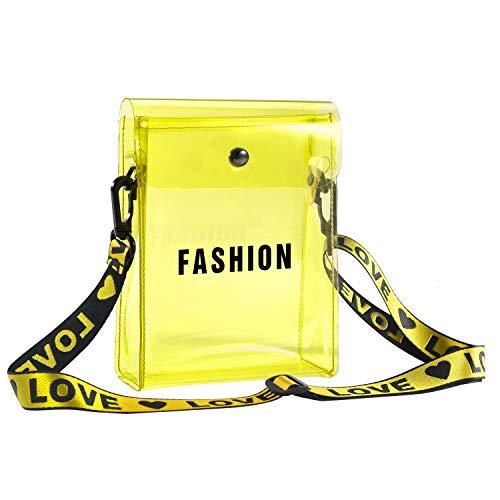 Small Crossbody Bag Clear Phone Purse Messenger Shoulder Bag with Adjustable Strap Transparent Handbag (Yellow)