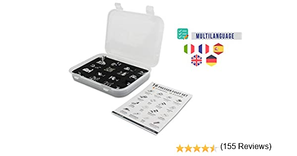 La Canilla ® - Kit de 16 Piezas Pie Prensatelas Universales para ...