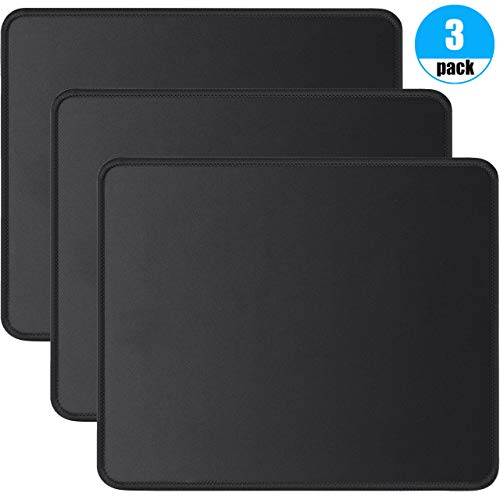 Foroffice 3 Pack Mouse Pad with Stitched Edge, Computer Mouse Pad with Non-Slip Rubber Base, Washable Mousepads Bulk with Lycra Cloth, Mouse Pads for Computers Laptop Mouse 10.2x8.3x0.12inch Black ()