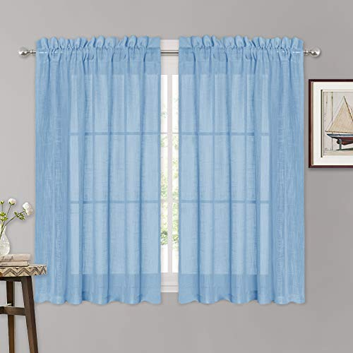 RYB HOME Decoration Privacy Sheer Curtains 63 inch Length for Office Room, Wall Panels Backdrop for Holiday, Pleated Dual Rod Prockets Sheer Drapes for Bedroom, Baby Blue, 52 x 63, -
