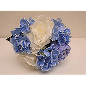CR. BLUE PURPLE Rose Hydrangea Hand Tied Bouquet Artificial Silk Flower 7158CRBL 45
