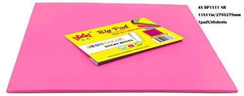 4A Sticky Big Pad,11 x 11 Inches,Large Size,Neon Red,Self-Stick Notes,30 Sheets/Pad,1 Pad/Pack,4A BP1111 NR