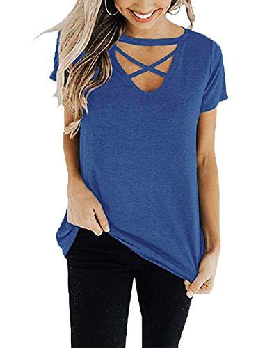 Criss Knit Cross Top (Suimiki Women's V Neck Criss Cross Tops Casual Short Sleeve T Shirt Tees Dark Blue Medium)