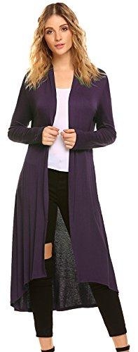 POGTMM Women's Long Open Front Drape Lightweight Maix Long Sleeve Cardigan Sweater (US S (4-6), Purple) (Low Print Strapless High)