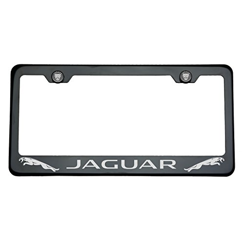 One Black Chrome Stainless Steel License Plate Frame Holder Front Or Rear Bracket Laser Engrave Jaguar with Logo Aluminum Screw Cap