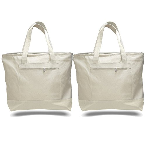 PACK OF 2 Heavy Canvas Fancy Zippered Tote Bags, Large Travel Totes, Beach Bag, by BagzDepot (Natural)