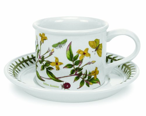 Portmeirion Botanic Garden Drum Shaped Tea Cup and Saucer, Set of 6 Assorted Motifs by Portmeirion