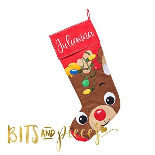 Personalized Christmas Stocking - Snowman - Reindeer - Elf - Gingerbread Man - Santa - Family (Family Stocking Snowman)