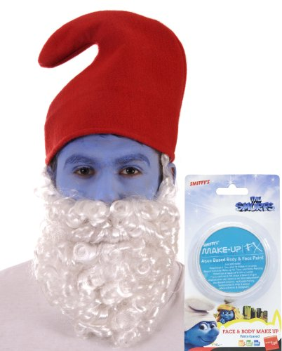 The Dragons Den Big Boys' Licensed murf Face Paint + Gnome Hat + Beard Fancy One Size Fits All Blue & (Gnome Hats And Beards)