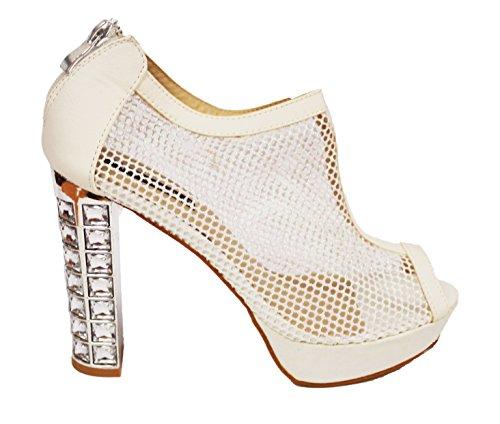 Milaya Zapatillas Nupcial Paseo Fiesta Clásico Boda Diseñador Señoras Zapatos Mujeres Tacón Blanco Alto zwHqgzr