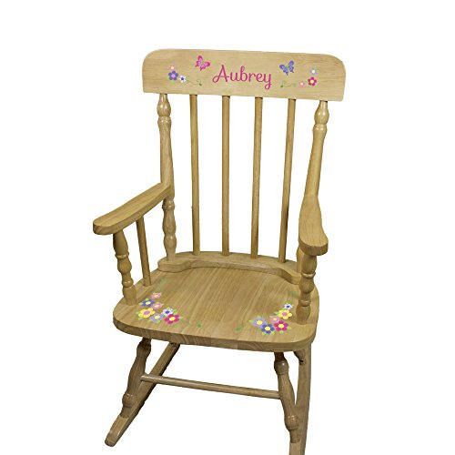 [Personalized Wooden Butterflies Rocking Chair] (Cherry Wood Rocking Chair)