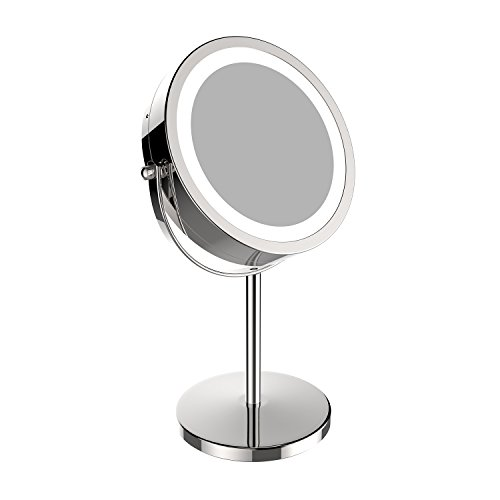 7 Inch 10X Lighted Vanity Makeup Double-Side Rotation Magnifying Mirrors