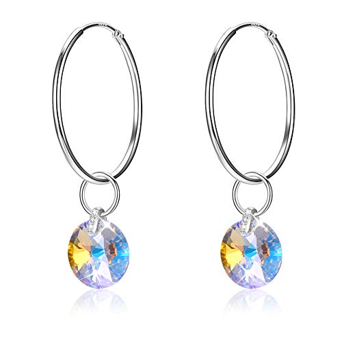 (LEKANI Hoop Earrings 925 Sterling Silver Drop Dangle Circle Endless Lightweight Design Jewelry Gifts Embellished Crystals from Swarovski for Women)