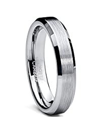 Tungsten Carbide Unisex Men's Women's Brushed Wedding Band Anniversary Ring Comfort Fit, 4MM Sizes 5 to 15