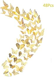 48Pcs Butterfly Decorations, Creatiee 3D Wall Decals|Metallic Art Sticker, DIY/Handmade/Removable/Pressure Res