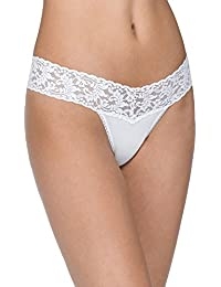 Organic Cotton Low Rise Thong with Lace