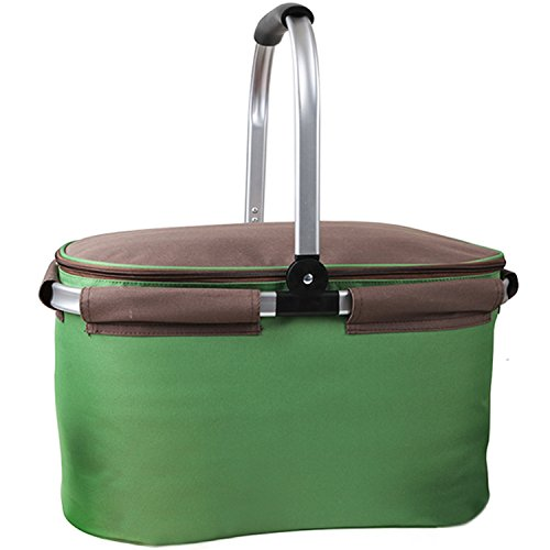 Yodo 22L Soft Picnic Basket – Large Cooler Compartment Insulated up to 4 hours with FDA Approved Aluminum Foil Lining for Camping and Outdoor Sports Event, Green