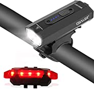 Gialer Bike Lights Front and Back, USB Rechargeable Bike Light, 500 Lumens Waterproof Bicycle Light for Men Wo