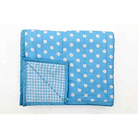 Blooming Buds Reversible Toddler Cotton Dohar Blue Dots And Checks