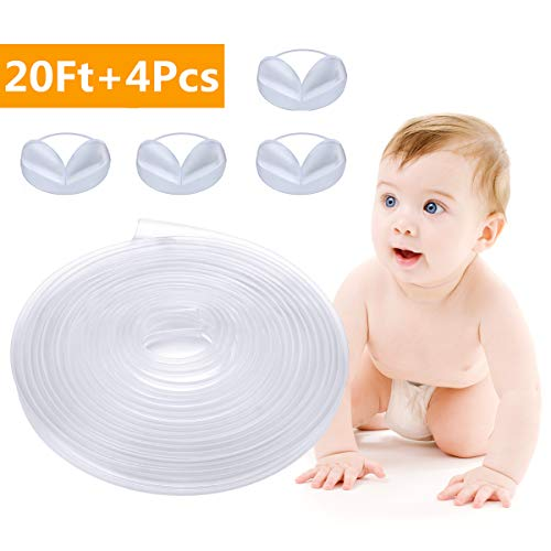 Corner Protector Guard Edge Safety Bumpers Strip for Baby, Godmorn Silicone Furniture Transparent Clear Child Baby Proofing Table Safe Edge Corner Cushion 20ft(6m) with 47ft(14.5M) Double-Sided Tape