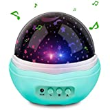 Number-One Music Multicolor Moon Star Projector Night Light Rotating Starry LED Baby Projection Lamp, 12 Soft Light Music Children Bedside Lamp Baby Kids Adults, Living Room Bedroom (Blue + Music)