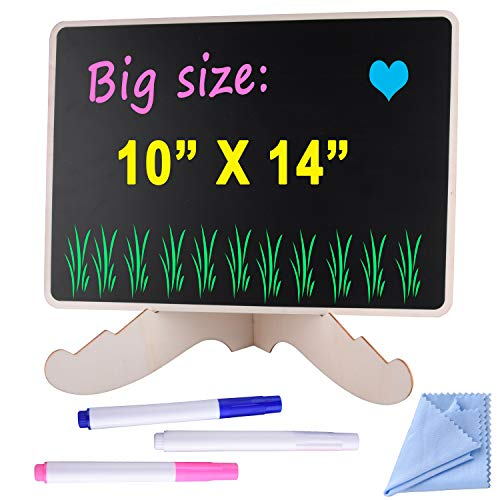 AUSTOR 10 x 14 inch Chalkboard Sign with Stand, Decorative Chalk Board Signs for Kitchen, Restaurant, Bar Coutertop, Party, Home Tabletop, Bonus: 3 Colors of Liquid Chalk and Cleaning Cloth