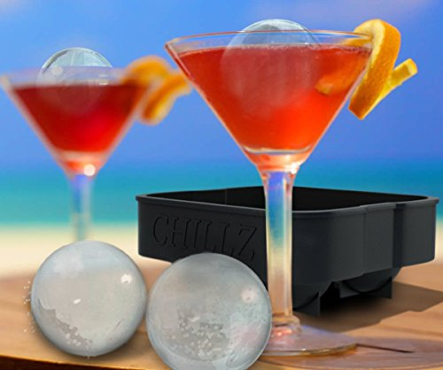 Chillz Ice Ball Maker - 2 Black Flexible Silicone Ice Trays - Mold 8 X 4.5cm Round Ice Ball Spheres (2 Pack) by The Classic Kitchen (Image #4)