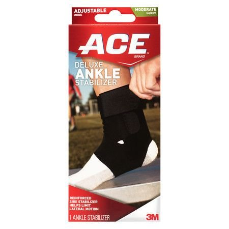 Ace Ankle Brace With Stabilizer Adjustable Black - 3PC by ACE