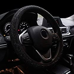 Bling Black Rhinestone Leather Steering Wheel Cover