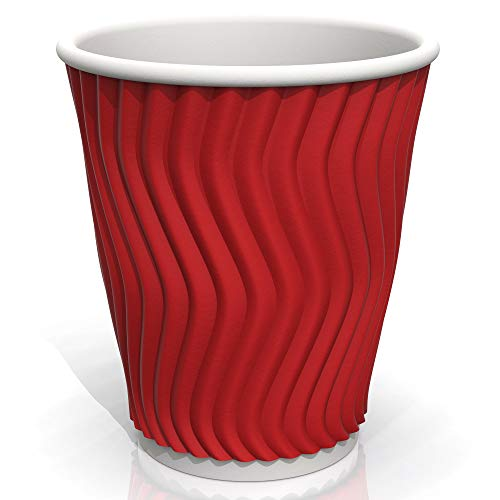 4 oz Red Coffee Ripple Paper Cups - Corrugated Paper Cups Sleeves for Coffee Tea and cold Drinks