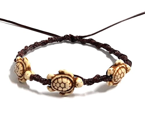 Bracelet or Anklet Sea 3 Turtle in Cream Brown Bracelet or Anklet Turtle Hemp Bracelet (Sterling Rope Boot Laces)