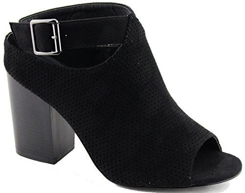 US Su Chunky Women Dressy Office M Trendy Black Bootie 8 Heel GG36 B Perforated Heel Breeze Leatherette Block Nature 5 Cqw4TSw