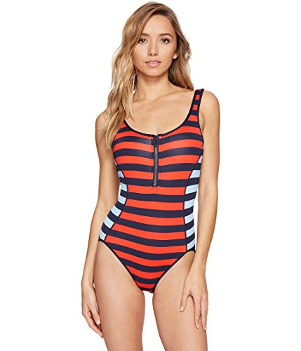 Tommy Hilfiger Women's Indy Stripe Scoop Neck One Piece Swimsuit with Zipper and Low Back, Core Navy, 10