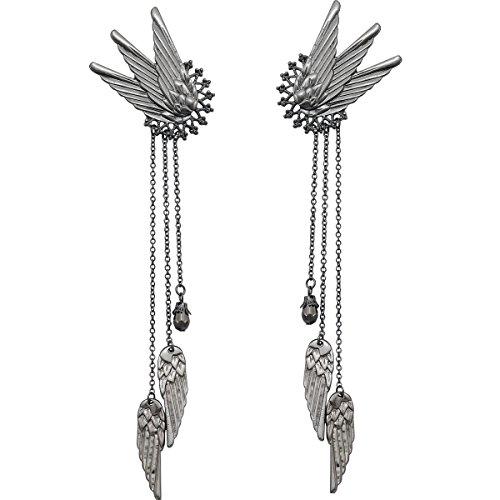 Black Q&Q Fashion 1Pair Fairy Elf Pixie Angel Wing Long Tassels Ear Cuffs Clips Cosplay -