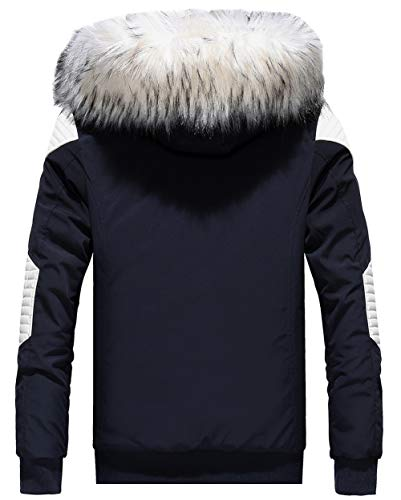 Noir Fgyyg Coupe Manteau Parka Mode poche Veste Couture Pu À Multi Classique Cuir Hommes Extérieure Capuche Épaissir vent Hiver Chaud rH8wr
