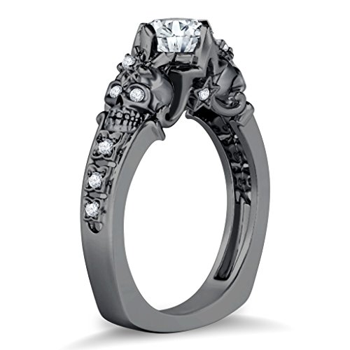 Silvostyles Two Skull Floral & Star Design Round Cut White CZ Diamond Black Gold PL Ring