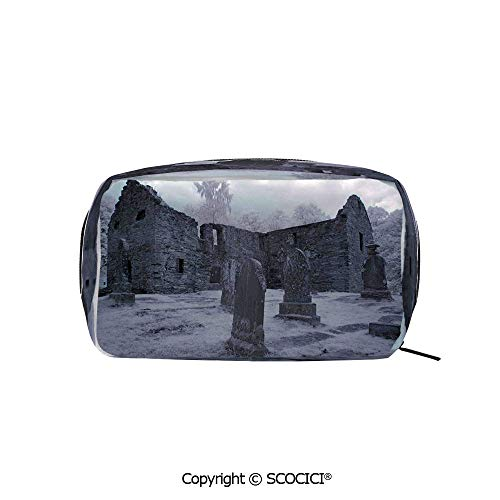 - Rectangle Beauty Girl And Women Cosmetic Bags Old Gothic Cemetery Church Tomb Tombstone Mysticism Spooky Forest Art Printed Storage Bags for Girls Travel