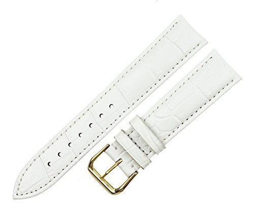 RECHERE Alligator Crocodile Grain Leather Watch Band Strap Gold Pin Buckle Color White (Width 18mm)