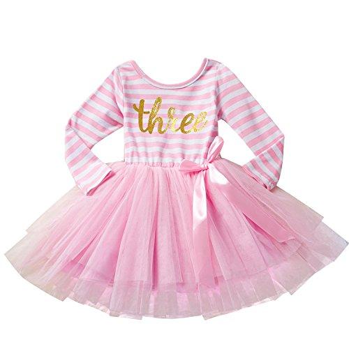 - NNJXD Girl Shinny Stripe Baby Girl Long Sleeve Printed Tutu Dress Light Pink 2-3 Years