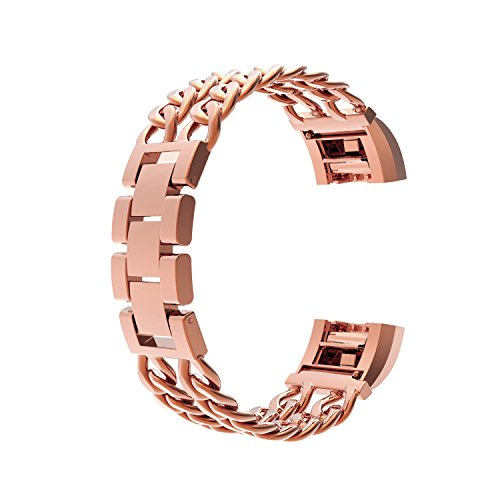 For Fitbit Charge 2 Bands Large Rose Gold/Fitbit Charge HR 2, Wearlizer Fitbit Charge 2 Metal Replacement Stainless Steel Bands/Strap/Accessories/Wristbands/Smart Watch Bands