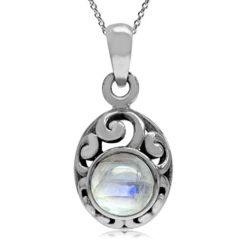 Sterling Silver Filigree Pendant - Petite Natural Moonstone 925 Sterling Silver Filigree Pendant w/ 18 Inch Chain Necklace
