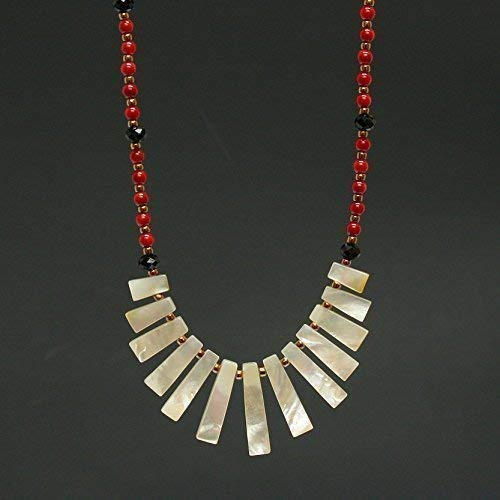 Mother of Pearl Stick Bib Pendant Red Coral Necklace - Sterling Silver, 1.5 & 19.5-in