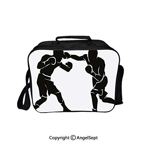 Multifunctional Lunch Bags for Women Wide Open,Black Silhouettes of Professional Boxers Fighters Combative Exercise Punch Attack Decorative Black White 8.3inch,Lunch Box With Double Deck Cooler Tote ()