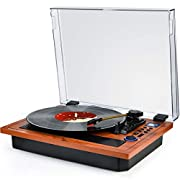 #LightningDeal Turntable Vinyl Record Player Support Wireless in & Out Record Player Built in Stereo Speakers Turntable Vinyl Records 3 Speed Turntable Player Support Vinyl-to-MP3 (Multifunction Brown)